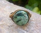 Wire Wrap Ring with Dakota Stones African Turquoise and Vintage Bronze Wire