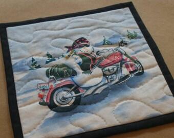 Motorcycle Snowman Mug Rug, Snack Mat, Fabric Coaster, Pot Holder, Trivet, Secret Santa, Gifts Under 10, Pink Biker Chick, Lady Snowman,