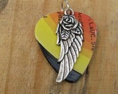 Guitar Pick Necklace with wing and rose - Label cut rainbow