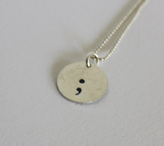 Semicolon Depression Self Harm And Suicide Awareness: Sterling Silver Semicolon Necklace Suicide Awareness