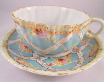 Antique Hand Decorated Porcelain Tea Cup/Saucer, Gold Accent and Trim. Housewarming Gift, Mothers Day Gift, Hostess Gift