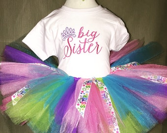 Big sister tutu shirt and hair clip set