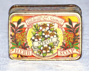 """Vintage Gilchrist and Soames """"Myrtle"""" Herb Soap and Collectible Tin"""