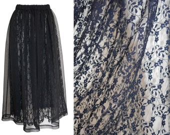 Comme des Garcons 1980s 1990s Vintage Sheer Lace Maxi Skirt Dark Blue US Size 6 Small