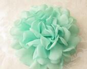 "Mint Fabric Flower / Hair Flower / Rose Fabric Flower / Chiffon Flower  4""  FLW-06  NO CLIPS"