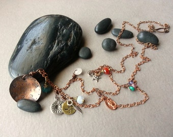 Sweet Dream Necklace, Mixed Metal, Handstamped Copper Pendant, Sterling Silver Charms, Gemstone Charms, Santa Fe/Southwestern Jewelry, Boho