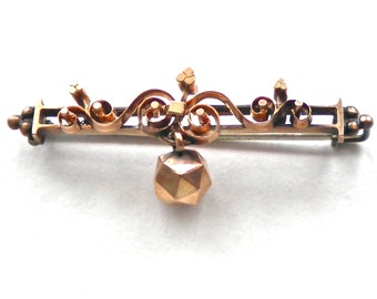 Antique VICTORIAN 14K Rose Gold Ball Pendant Bar Pin 1800's