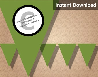 Olive Green Solid Birthday Party Bunting Pennant Banner Instant Download, Party Decorations