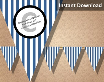 Navy Blue Stripes Bunting Pennant Banner Instant Download, Party Decorations