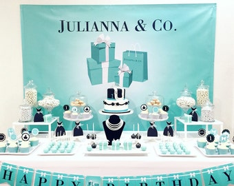 Tiffany / Breakfast at Tiffanys Themed Party Backdrop  on JPEG or PDF File via Email Delivery - You Print Your Own