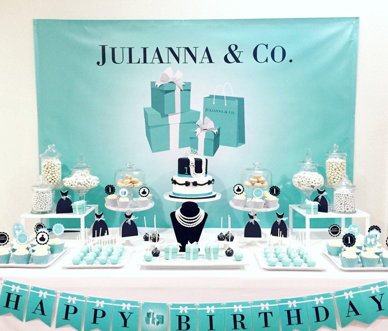 Tiffany / Breakfast at Tiffanys Themed Party Backdrop on JPEG