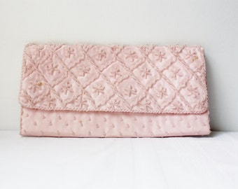 Vintage Pink Beaded Clutch Hand Bag Handmade Hong Kong Purses Glamour Bag