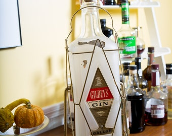 Oversized Gin Bottle Bar Decor Tilt Pourer Mid Century Gilbert's Gin 1960s