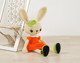 SALE -50%   Amigurumi bunny in a dress - Crocheted toy rabbit