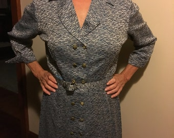 Peg Palmer blue dressy dress double breasted with belt