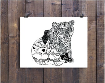 Forrest Animal. Woodland Animal, Nursery Art, Bear Art, Pen and Ink Print, Black and White Art, Drawing, Animal Illustration, Ink Art