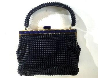 1950s navy beaded purse with pearlized lucite inlay - 1950s blue purse - 50s beaded purse - 1950s vintage handbag - 50s beaded handbag
