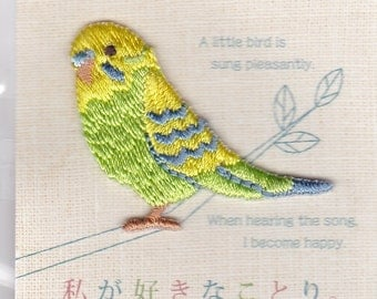 Budgie Budgerigar Parakeet Embroidered Iron-on Applique Iron-on Patch (H459-001) Buy other items together for BETTER price.