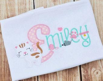 Kitten Monogram - Kitty Birthday Applique shirt - Customizable -  Infant to Youth 85