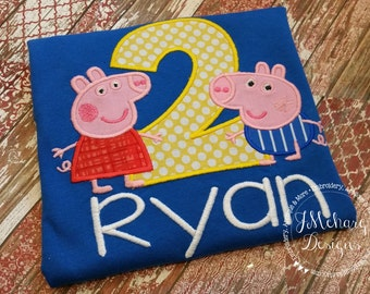 Peppa & George Pig Birthday Custom Tee Shirt - Customizable -  Infant to Youth 257