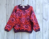 Vintage sweater | 1980s Anastasia rose print pink red floral wool knit jumper sweater pullover