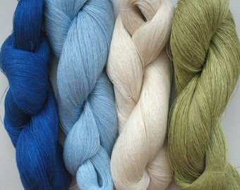 Linen Yarn Creme Blue Azure Moss Green 360 gr (12.6 oz ), Cobweb / 1 ply, each hank contains approximately 2600 yds