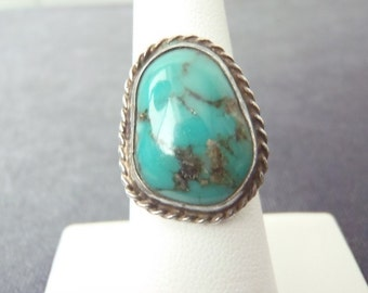 Sterling Silver Turquoise Ring Sz.6 1/2 R104