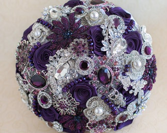WEDDING PURPLE BOUQUET. Purple and Silver wedding brooch bouquet, Jewelry Bouquet. Bridal bouquet, keepsake bouquet.