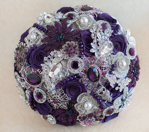 urple and Silver wedding brooch bouquet