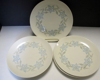 Homer Laughlin Dura Print Blue Flower Luncheon Plates (Rhythm) Studio Shape 1950s Shabby Chic - Set of 4