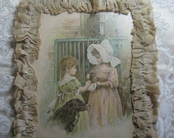 Vintage Image with Fabric Ruffled Frame, very sentimental
