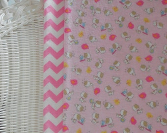 Pink kittens and Pink Chevron,Set of Two Cotton Baby Blankets, Summer Baby Girl Shower Gift Idea,Pastel pink and white Swaddling, Receiving