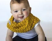 "Modern Bib (Yellow Geo) All in One Scarf & Bib ""Scabib for babies or toddlers"