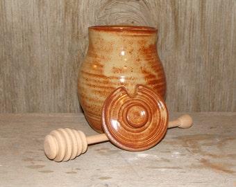 Rustic Brown Honey Pot