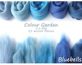 Light blue Merino Shade sets - 21 micron Merino wool - 100g - 3.5oz - 5 x 20g - Colour Garden - Bluebells
