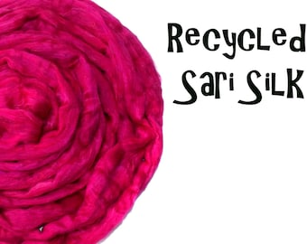 Recycled Sari Silk fibre - Cerise - Pink - 50g - 1.75oz - Spinning - Add ins