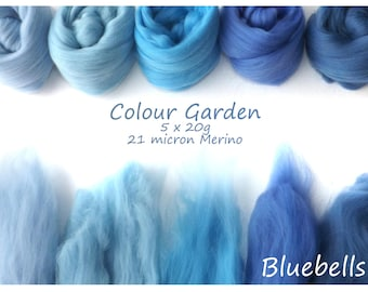 Light blue Merino Shade sets - 21 micron Merino wool - 100g - 3.5oz - 5 x 20g - Colour Garden - Bluebells