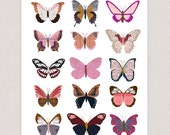 Pink Butterflies - Collage Illustration Art Print Poster - Wall Art Print