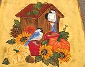 Autumn Harvest Birdhouse Pumpkins Welcome sign hand painted slate Thanksgiving decor slate painting