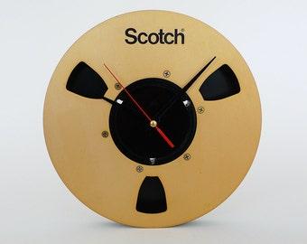Vintage Scotch Tape Reel Clock / Upcycled Gold Black Decor