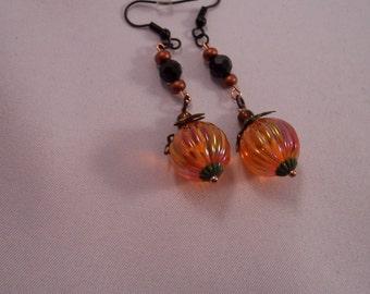 Pumpkin Earrings - Vintage Lucite Pumpkin Beads/Vintage Black Glass Beads