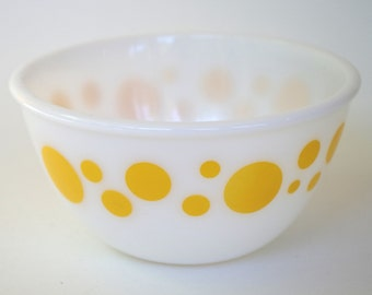 Vintage Hazel Atlas Yellow Polka Dot Milk Glass Mixing Bowl Nesting Bowl 6 inch