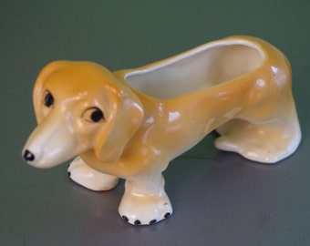 Very Sweet Vintage Small Dachshund Ceramic Planter Made in Czechoslovakia