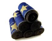 Burlap Trim, Blue Burlap Ribbon, Americana, Stars, Patriotic, Rustic Craft Supply