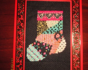 Patchwork Quilt Stocking Christmas Card