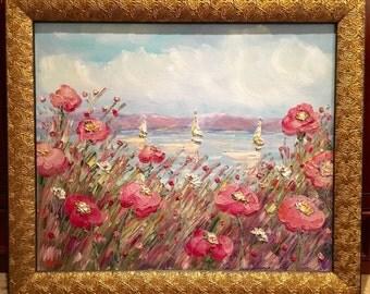 KADLIC Original Oil Impasto Painting ABSTRACT Beach Seascape Floral Impressionist Art 20x24