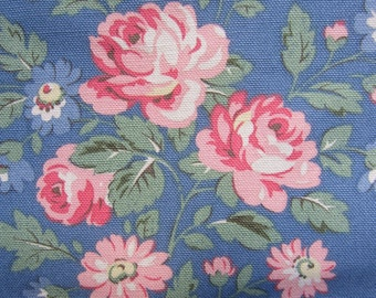 "1m Cath Kidston. Cotton Upholstery Fabric. Duck Cloth. Windsor Rose Blue. 145cm Wide. (39"" x 57"") Heavy Canvas."