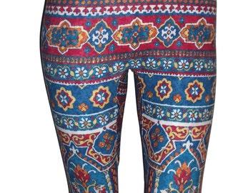 Blue and Maroon Aztec Leggings, Tribal leggings, Printed Leggings, Yoga Pants, Running Pants