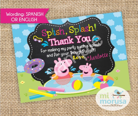 Peppa Pig George Pool Party Thankyou Card With Childs Name