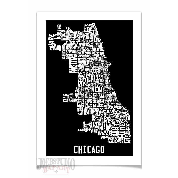 Chicago Neighborhoods Typography Map Art Print Bus By